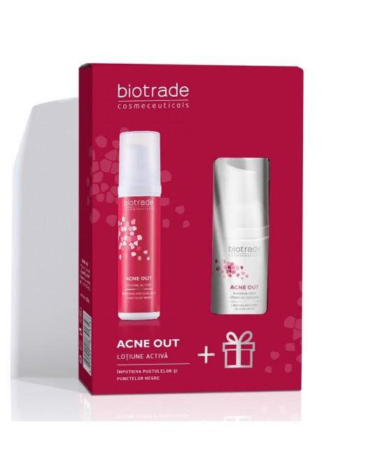 Biotrade Acne Out Pachet Lotiune Activa 60 ml + Acne Out Spuma de Curatare 20 ml Cadou