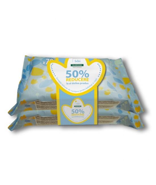 Klorane bebe servetele umede calmante, 70 bucati 1+50% din al doilea
